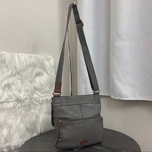 Fossil Gray Leather Messenger / Crossbody
